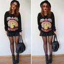 GO TO HELL Rainbow Print Black Sweatshirt