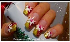 Christmas Nails | Poinsettia Design ♥
