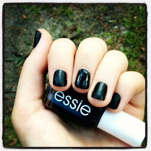 Licorice essie nail polish with Westminster Bridge matte nails inc. top coat.