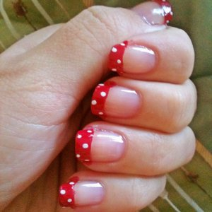 Red with white dots (french tip)