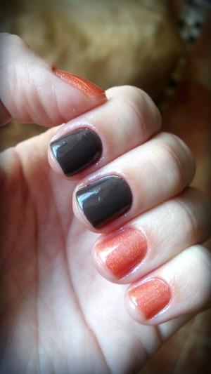 Simple brown polish and an orange holo..