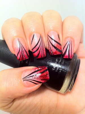 sponged Nails and later on made with black/clear water marble