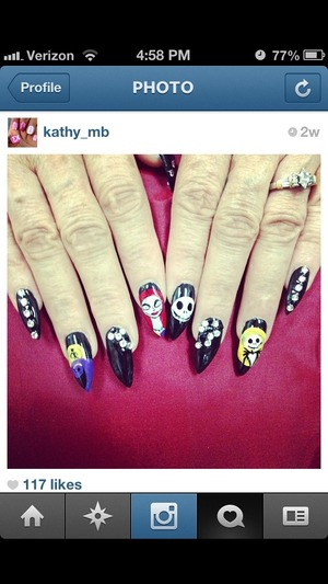 Stiletto nails , nightmare before Christmas character , jack , acrylic paint