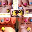 Pacman Inspired nail art