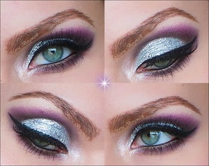 Prime the eyelids with Urban Decay's primer potion in anti-aging. With a black contour pencil trace a line along the whole lower lashline creating a wing upwards the end of the eyebrow. Trace the crease and let it meet with the wing. Color the outer V with black and smudge all out. Over the smudged out eye pencil apply a matte black eyeshadow and blend it out. Then over the black blend in a matte purple eyeshadow. Blend it in into the black and up. Highlight under the eyebrown with a matte whitebeige eyeshadow. Over the mobile eyelid apply NYX jumbo eye pencil in MILK. Over the mobile eyelid pack on SHELLSHOCK. In the inner corner of the eye apply Kryolan's Glamour Sparks in Silver Sparks. Now over SHELLSHOCK apply UD heavy metal glitter eyeliner in GLAM ROCK. Line upper and lower waterline with UD 24/7 glide-on eye pencil in PERVERSION. Apply a black cake eyeliner using a cake eyeliner sealer and make a wing. Apply mascara and put on false eyelashes.