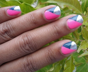 Combine neon, metallic and color block trends into one design:  http://chinadolltt.blogspot.com/2012/05/triple-trendy-nails.html