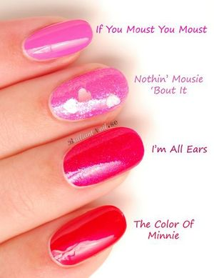 """OPI says: """"This collection brings together the expertise of OPI and the iconic style of Minnie Mouse to inspire the distinct palette of vibrant, feminine shades for summer Nails will pop against summer skin in these classic, saturated hues – holding their own alongside the bold prints of the season."""" http://brilliantnail.se/nagel-blogg"""