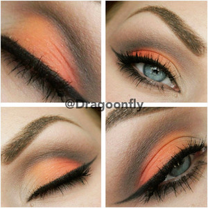 Lid - Brightest orange and pink from 120 palette. + white Crease - Tease and blackout from naked palette 2 + dark brown from 88 warm palette. Browbone - Foxy from naked palette 2