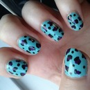 Blue and purple leopard print