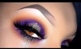Sexy Purple Halo & Glitter Makeup Tutorial ft Mulac Sparkle Drug Glitter