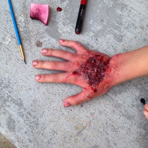 FX hand look (first on another person) using gelatin, eyeshadows, and lipstick