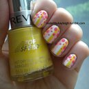 White, Pink, Yellow Stripes And Dots
