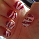 Candy cane glitter nails