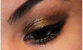 Black gold tutorial using Laura mercier black karat eyeshadow