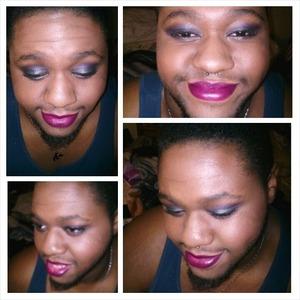 Gun metal grey lids with a purple crease, nd Burgundy lips