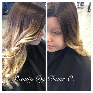 Ombre hair color done by myself, warm chocolate brown base with blonde ends...
