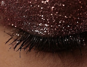 sparkle eyeshadow, mascara, mauve sparkle eyeshadow, taupe sparkle eyeshadow