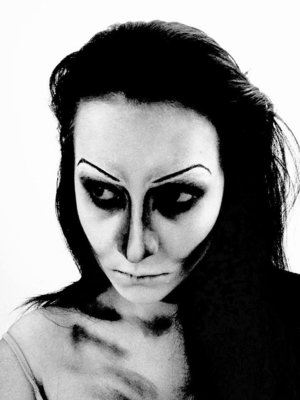 Testing this look for my mum, her request was to still look feminine but wanted to still look scary/creepy.  Have some thing I want to change - This has a black/white filter, really makes the contouring look wicked.