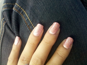 experimented with this one...I did Essie Polish in Fiji and a gel color in June Bride on top