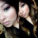 gold purple smokey eye nude lips ombré hair