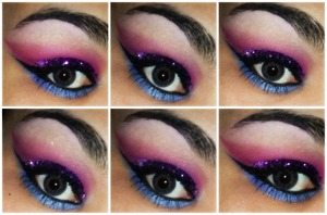 Created this look using sleek ultra mattes v1 palette, L.A colors palette and cheapy purple glitter, doesnt look so good, wasnt feeling well when i did this.