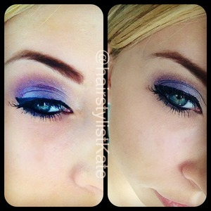 Used Kat Von D brown shadow and a fine slanted brush on eye brows. Then used the lightest of the colors in the same palette under brown and in corners of eyes. The took lightest shade of purple and put on while lid. Then applied urban decay blue in center of lid, then applied dark purple in corner and medium purple and blended in towards blue and up into crease. Finally apply lined and in waterline.