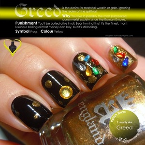 Greed, interpreted using a england Camelot, Holy Grail and multi-coloured rhinestones. More on the blog: http://www.alacqueredaffair.com/Polish-Days-11-7-Deadly-Sins-29118855
