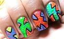 Pop Art Nail Designs - Drawing Nail For Pop Art Nails - Short &Long Nails Neon DIY tutorial
