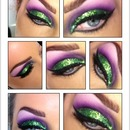 Green glitter smoke out purple