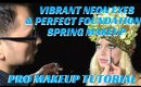 SPRING MAKEUP TUTORIAL * VIBRANT NEON EYES AND HOW TO PERFECT SKIN - karma33