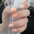 Orange polka dots / glitter