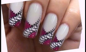 pink & white NailArt Tutorial