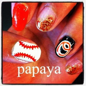 Opening day nails! Baltimore Orioles! <3
