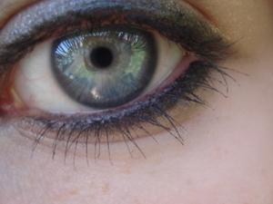 Heavy, blended eyeliner with several coats of mascara