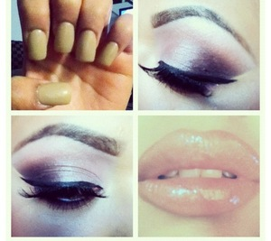 Simple Smokey Eye not to Harsh, Just enough to spice it up:] ... Oh yes, Can't forget the Nude Nails <3