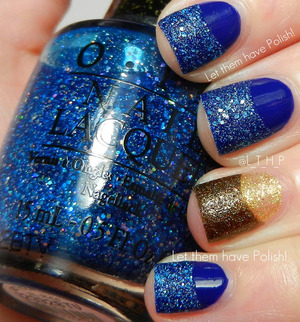 A half moon mani with OPI shades from Euro Centrale and Liquid Sand