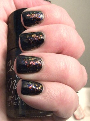 Finger Paints Asylum over FP Black Expressionism with a Cult Nails Time Traveler chevron