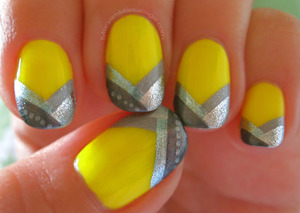 90's inspired neon nails with braided silver tips. For products, how-to, and details, go to my blog: http://www.maryammaquillage.com/2012/02/highlighter-hardware-neon-nails.html