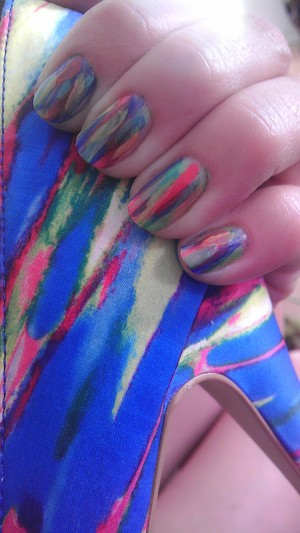 Manicure to match new heels! Quick swipes with a tiny paint brush.  Pink:  Klean Color, #21 Neon Fuchsia Blue: Revlon, Top Speed, #730 Royal Green: Color Club, #862 What a Shock! Yellow: Maybelline, Color Show, #230 Fierce and Tangy