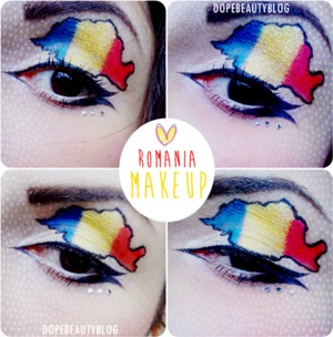 I've created this makeup for celebrating my country. Romania. More details and pictures you can find on my blog. http://dopebeautyblog.blogspot.ro/