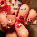 Valentine's day short nails theme