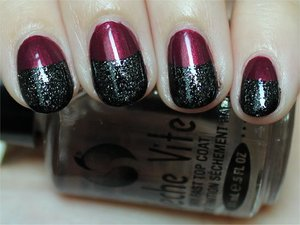 I used Illamasqua Charisma (raspberry) and Illamasqua Creator (black with silver micro-glitter).