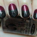Raspberry, Black & Silver Half Moon Nails
