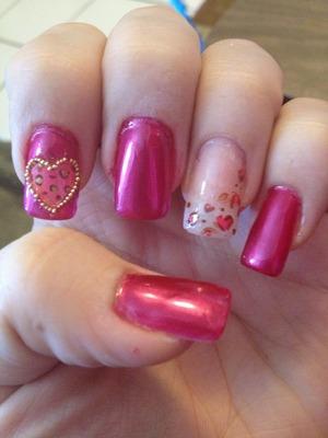 Microbead and cheetah print valentine nails