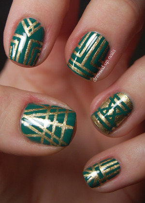 Colors used are Zoya Ziv and Revlon Emerald. I did these with striping tape and A LOT of patience. More info in the blog post!