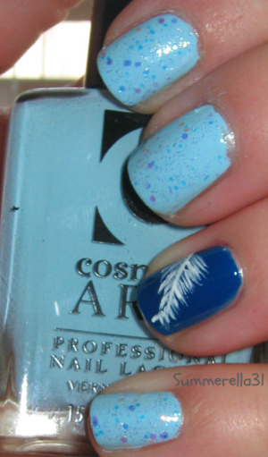 Cosmetic Arts light blue polish (no name), Orly Shockwave, China Glaze Make a Spectacle and a white striper polish
