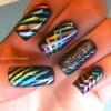 Metallic Stripes Nail Art
