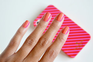 Try a sideways french manicure for a pop of color this summer!
