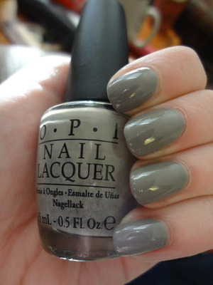 OPI French Quarter for your thoughts. Perfect lighter grey creme. 2 coats, like butter. Office appropriate meets badass.