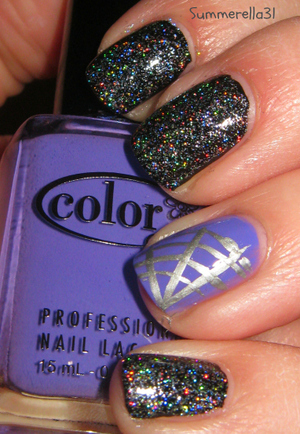 Wet N Wild Black Creme, Cover Girl City Lights, Color Club Pucci-Licious and a silver striper polish